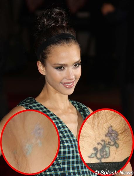 (Jessica Alba is giving her neck tattoo the vanishing act. The )