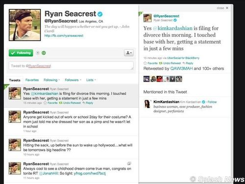 Although we're still waiting for an official statement from Kim Kardashian herself, Kim's close friend and media mogul Ryan Seacrest confirmed via Twitter that the reality star is filing for divorce today from husband of just 72 days, Kris Humphries. Rumors have been flying for weeks that the marriage was off to a rocky start and would soon end. Reports of bickering plagued the couple since before their wedding. Their lavish wedding on August 20 drew a great deal of media attention, including a 4-hour wedding special on E! which was executive produced by Ryan Seacrest.