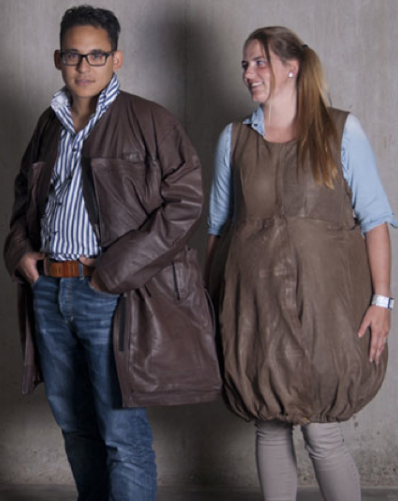 Man and woman brown leather