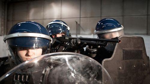 Blue helmet cops