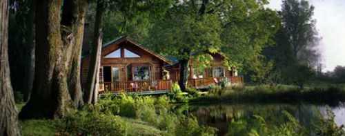 Cabins on river